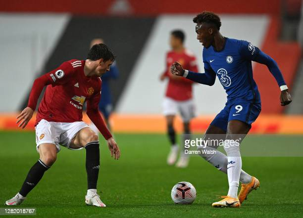 Tammy Abraham of Chelsea controls the ball during the Premier League match between Manchester United and Chelsea at Old Trafford on October 24 2020...