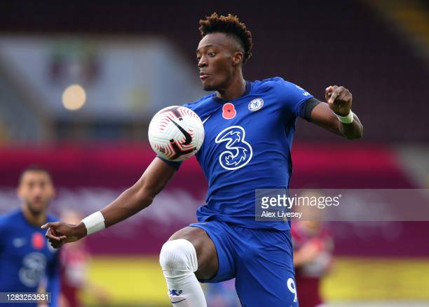 Tammy Abraham of Chelsea controls the ball during the Premier League match between Burnley and Chelsea at Turf Moor on October 31 2020 in Burnley...