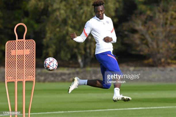 Tammy Abraham of Chelsea during a training session ahead of the UEFA Champions League Group E stage match between Chelsea FC and FC Sevilla at...
