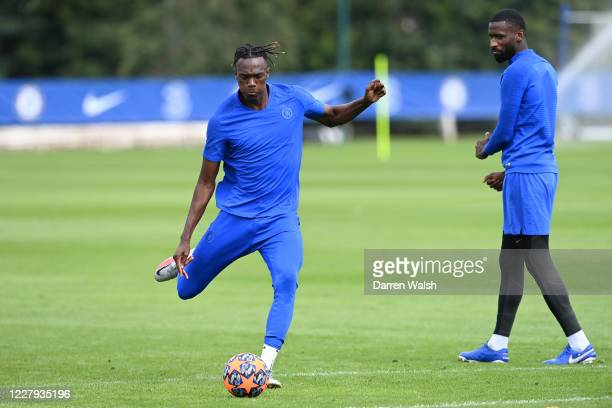 Tammy Abraham of Chelsea during a training session at Chelsea Training Ground on August 6 2020 in Cobham England