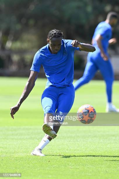 Tammy Abraham of Chelsea during a training session at Chelsea Training Ground on August 7 2020 in Cobham England