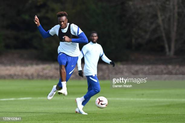 Tammy Abraham of Chelsea during a training session at Chelsea Training Ground on October 16 2020 in Cobham England