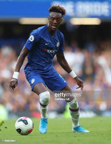 Tammy Abraham of Chelsea during the Premier League match between Chelsea FC and Leicester City at Stamford Bridge on August 18 2019 in London United...