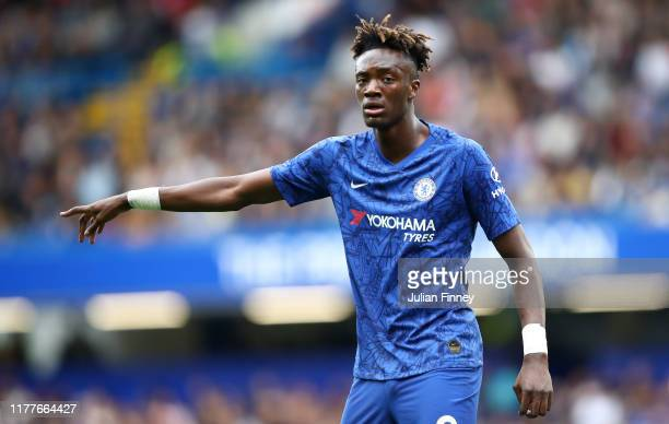 Tammy Abraham of Chelsea gives his team instructions during the Premier League match between Chelsea FC and Brighton Hove Albion at Stamford Bridge...