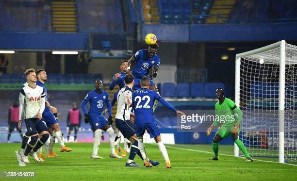 Tammy Abraham of Chelsea heads the ball during the Premier League match between Chelsea and Tottenham Hotspur at Stamford Bridge on November 29, 2020...
