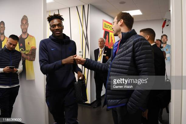Tammy Abraham of Chelsea high fives Petr Cech as he arrives at the stadium prior to the Premier League match between Watford FC and Chelsea FC at...
