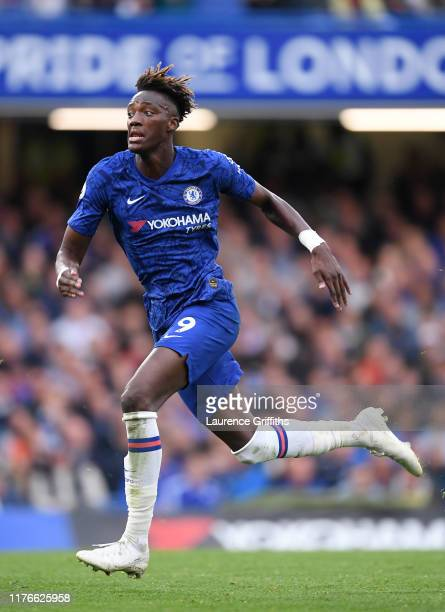 Tammy Abraham of Chelsea in action during the Premier League match between Chelsea FC and Liverpool FC at Stamford Bridge on September 22 2019 in...