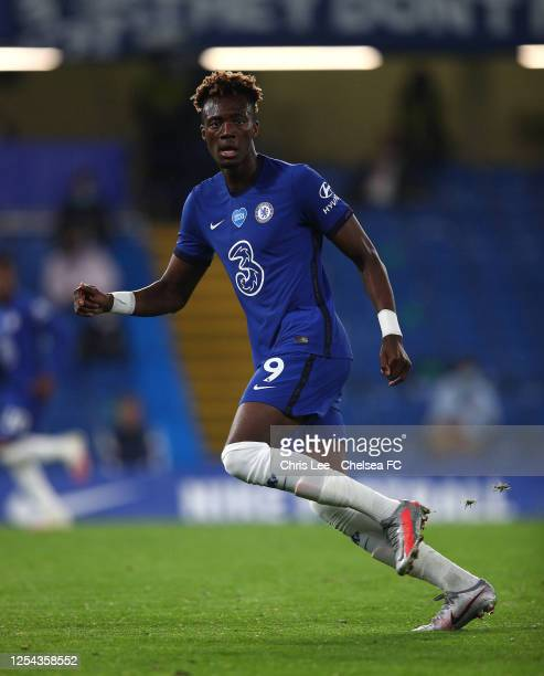 Tammy Abraham of Chelsea in action during the Premier League match between Chelsea FC and Watford FC at Stamford Bridge on July 04 2020 in London...