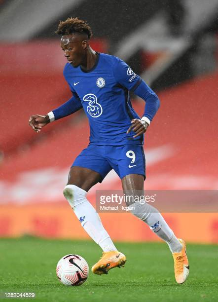 Tammy Abraham of Chelsea in action during the Premier League match between Manchester United and Chelsea at Old Trafford on October 24 2020 in...