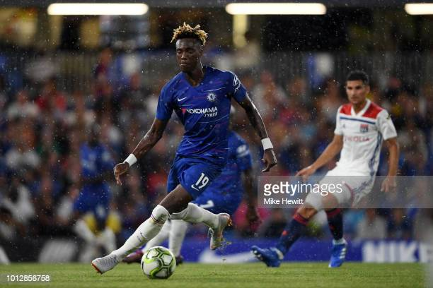 Tammy Abraham of Chelsea in action during the preseason friendly match between Chelsea and Lyon at Stamford Bridge on August 7 2018 in London England