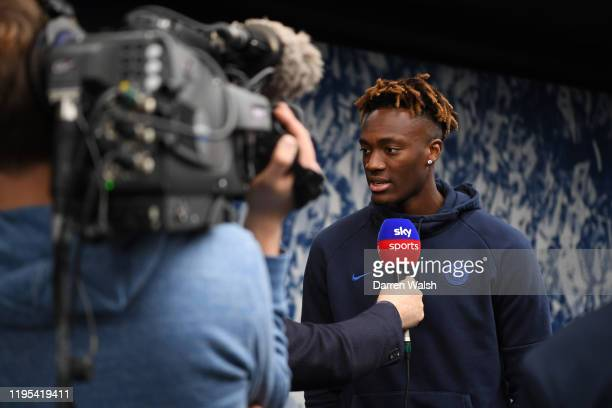Tammy Abraham of Chelsea is interviewed by Sky Sports ahead of the Premier League match between Tottenham Hotspur and Chelsea FC at Tottenham Hotspur...