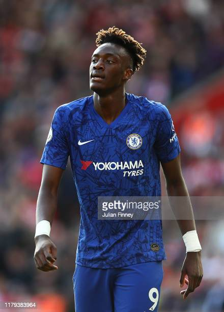 Tammy Abraham of Chelsea looks on during the Premier League match between Southampton FC and Chelsea FC at St Mary's Stadium on October 06 2019 in...