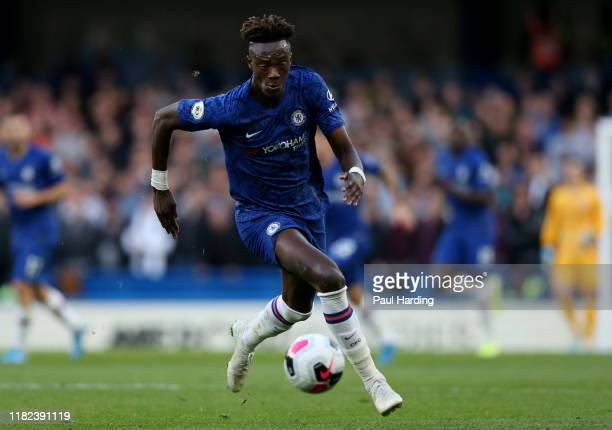 Tammy Abraham of Chelsea of Chelsea during the Premier League match between Chelsea FC and Newcastle United at Stamford Bridge on October 19 2019 in...