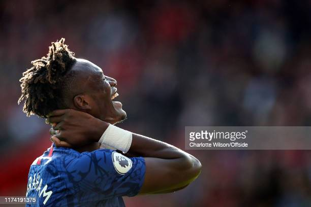 Tammy Abraham of Chelsea reacts after missing a chance during the Premier League match between Southampton FC and Chelsea FC at St Mary's Stadium on...