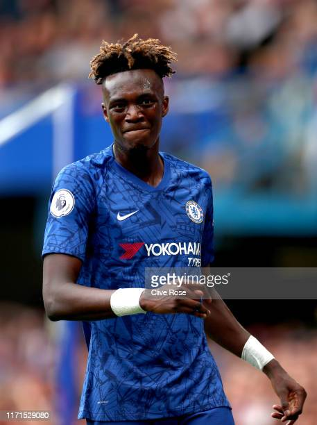 Tammy Abraham of Chelsea reacts during the Premier League match between Chelsea FC and Sheffield United at Stamford Bridge on August 31, 2019 in...