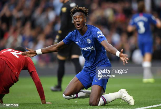Tammy Abraham of Chelsea reacts during the Premier League match between Chelsea FC and Liverpool FC at Stamford Bridge on September 22 2019 in London...