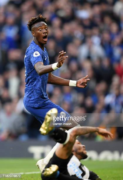 Tammy Abraham of Chelsea reacts during the Premier League match between Chelsea FC and Newcastle United at Stamford Bridge on October 19 2019 in...