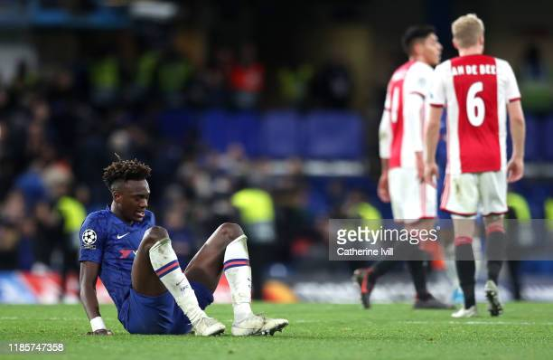 Tammy Abraham of Chelsea reacts during the UEFA Champions League group H match between Chelsea FC and AFC Ajax at Stamford Bridge on November 05 2019...
