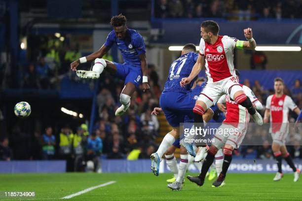 Tammy Abraham of Chelsea scores an own goal for Ajax's first goal during the UEFA Champions League group H match between Chelsea FC and AFC Ajax at...