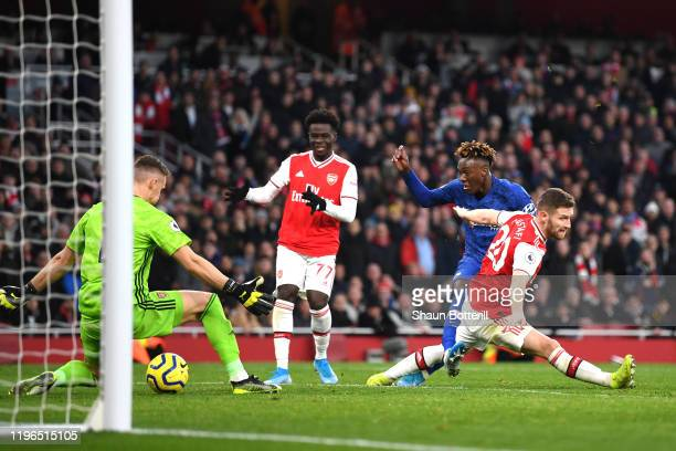 Tammy Abraham of Chelsea scores his sides second goal during the Premier League match between Arsenal FC and Chelsea FC at Emirates Stadium on...