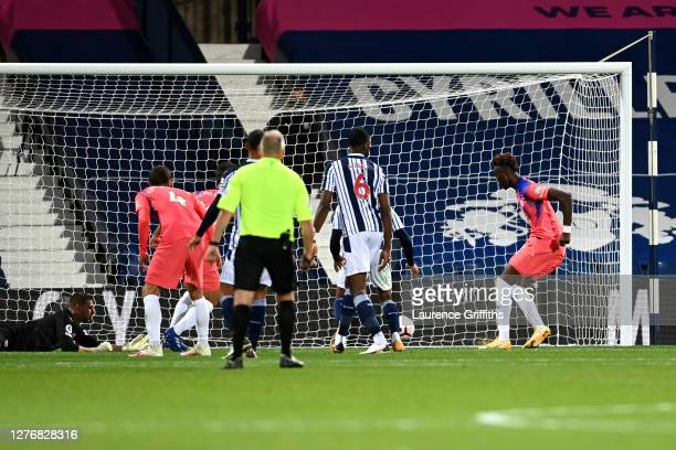 Tammy Abraham of Chelsea scores his sides third goal during the Premier League match between West Bromwich Albion and Chelsea at The Hawthorns on...