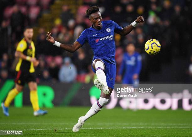 Tammy Abraham of Chelsea scores his team's first goal during the Premier League match between Watford FC and Chelsea FC at Vicarage Road on November...