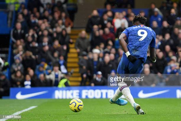 Tammy Abraham of Chelsea scores his team's first goal during the Premier League match between Chelsea FC and Crystal Palace at Stamford Bridge on...