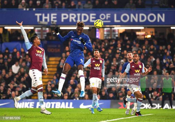 Tammy Abraham of Chelsea scores his team's first goal during the Premier League match between Chelsea FC and Aston Villa at Stamford Bridge on...