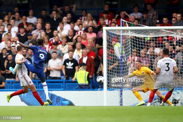 Tammy Abraham of Chelsea scores his team's second goal during the Premier League match between Chelsea FC and Sheffield United at Stamford Bridge on...