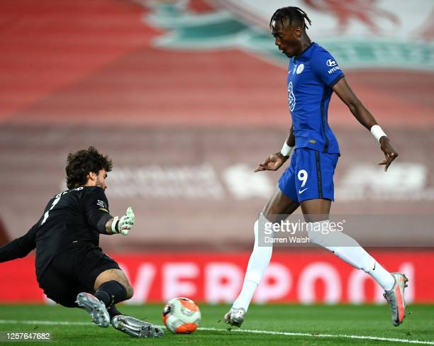 Tammy Abraham of Chelsea scores his team's second goal during the Premier League match between Liverpool FC and Chelsea FC at Anfield on July 22 2020...