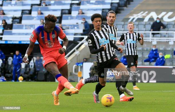 Tammy Abraham of Chelsea scores his team's second goal during the Premier League match between Newcastle United and Chelsea at St. James Park on...