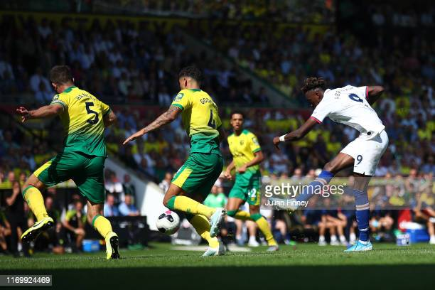 Tammy Abraham of Chelsea scores his team's third goal during the Premier League match between Norwich City and Chelsea FC at Carrow Road on August 24...