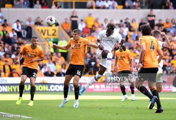 Tammy Abraham of Chelsea scores his team's third goal during the Premier League match between Wolverhampton Wanderers and Chelsea FC at Molineux on...