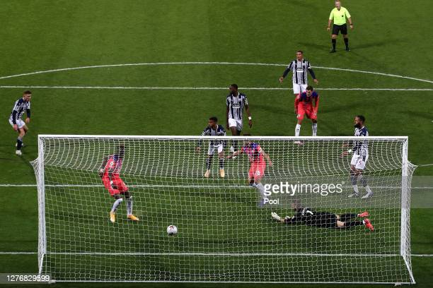Tammy Abraham of Chelsea scores his team's third goal during the Premier League match between West Bromwich Albion and Chelsea at The Hawthorns on...
