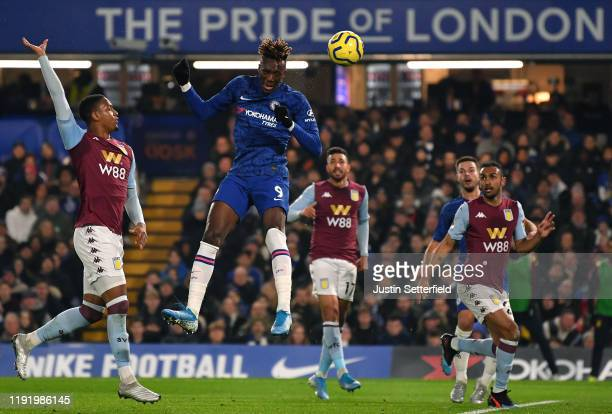 Tammy Abraham of Chelsea scores the 1st Chelsea goal during the Premier League match between Chelsea FC and Aston Villa at Stamford Bridge on...