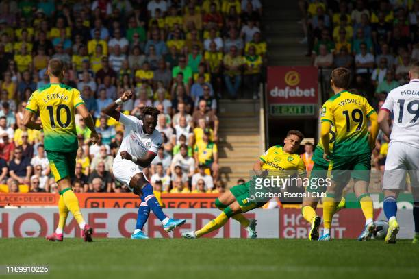 Tammy Abraham of Chelsea scores the opening goal during the Premier League match between Norwich City and Chelsea FC at Carrow Road on August 24,...