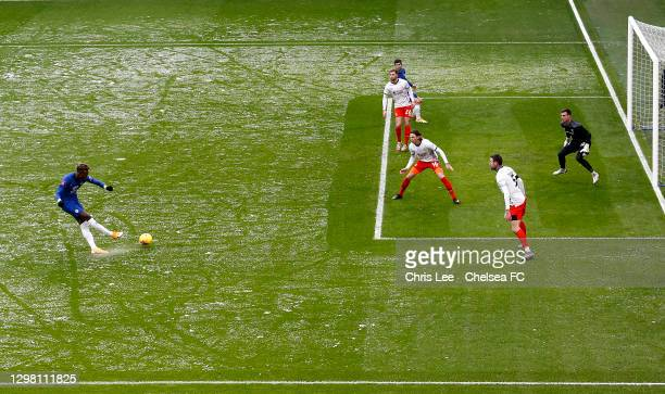 Tammy Abraham of Chelsea scores their side's first goal during The Emirates FA Cup Fourth Round match between Chelsea and Luton Town at Stamford...