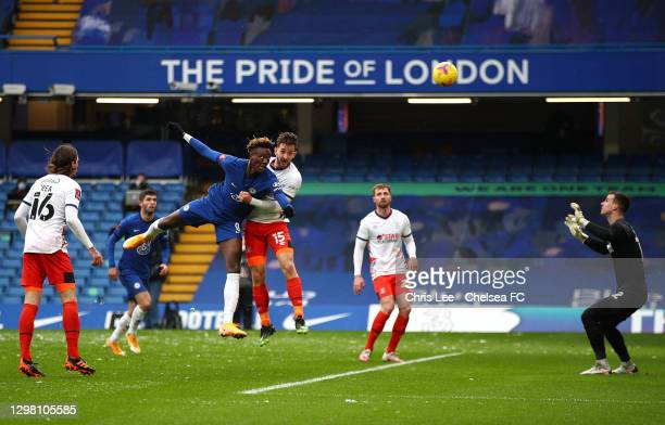 Tammy Abraham of Chelsea scores their sides second goal past Simon Sluga of Luton Town during The Emirates FA Cup Fourth Round match between Chelsea...