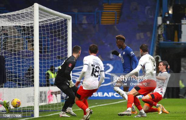 Tammy Abraham of Chelsea scores their side's third goal for their hat trick during The Emirates FA Cup Fourth Round match between Chelsea and Luton...