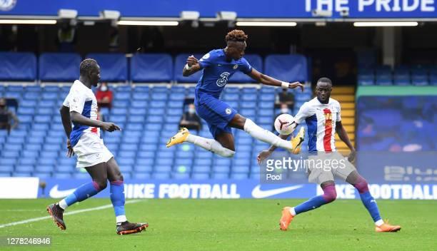Tammy Abraham of Chelsea shoots during the Premier League match between Chelsea and Crystal Palace at Stamford Bridge on October 03 2020 in London...