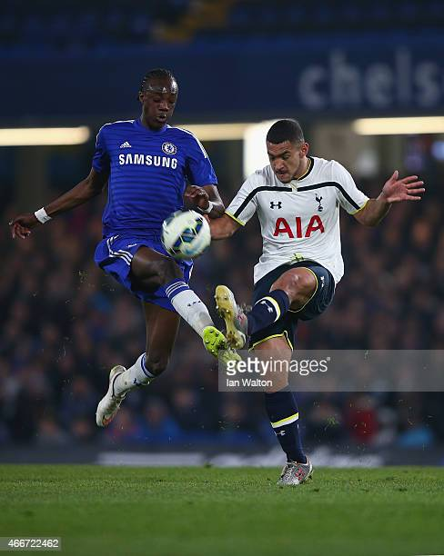 Tammy Abraham of Chelsea tries to tackle Cameron Carter Vickers of during the FA Youth Cup Semi Final Second Leg match between Chelsea v Tottenham...