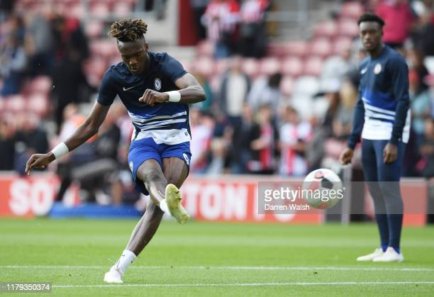 Tammy Abraham of Chelsea warms up prior to the Premier League match between Southampton FC and Chelsea FC at St Mary's Stadium on October 06 2019 in...