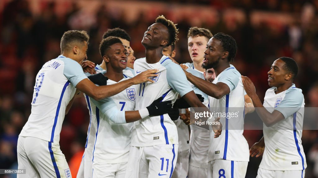 Tammy Abraham of England (11) celebrates as he scores their second goal from a penalty with team mates during the UEFA European Under 21 Championship Group 4 Qualifier between England and Scotland at Riverside Stadium on October 6, 2017 in Middlesbrough, England.