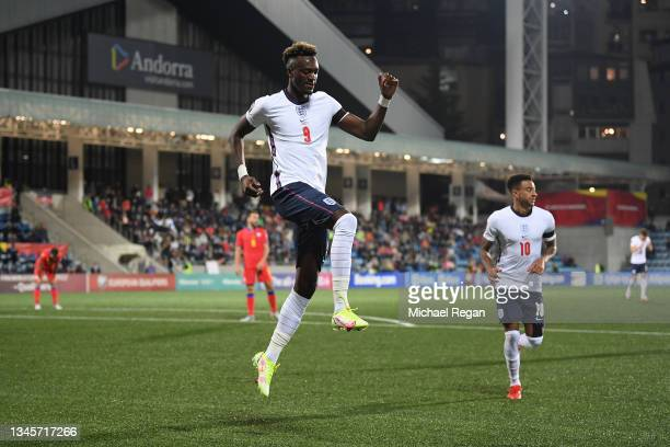 Tammy Abraham of England celebrates scoring the third goal during the 2022 FIFA World Cup Qualifier match between Andorra and England at Estadi...