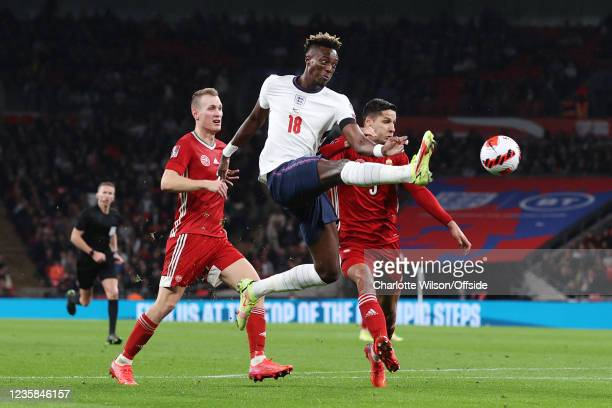 Tammy Abraham of England in action during the 2022 FIFA World Cup Qualifier match between England and Hungary at Wembley Stadium on October 12, 2021...