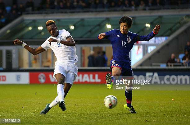 Tammy Abraham of England scores his sides third goal during the U19 International friendly match between England and Japan at Manchester City Academy...