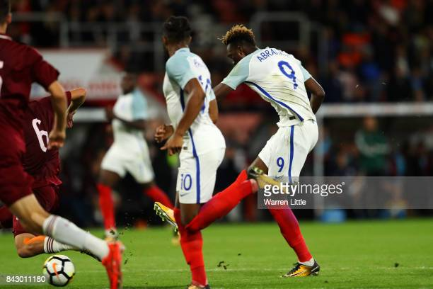 Tammy Abraham of England scores the 2nd England goal during the UEFA Under 21 Championship Qualifiers between England and Latvia at Vitality Stadium...
