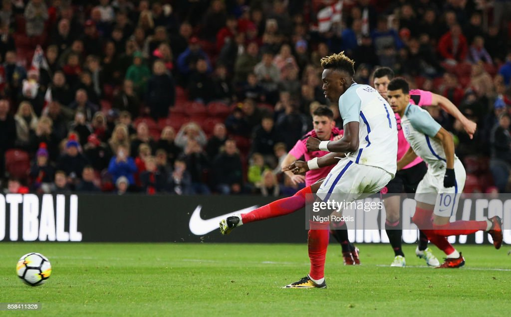 Tammy Abraham of England scores their second goal from a penalty during the UEFA European Under 21 Championship Group 4 Qualifier between England and Scotland at Riverside Stadium on October 6, 2017 in Middlesbrough, England.