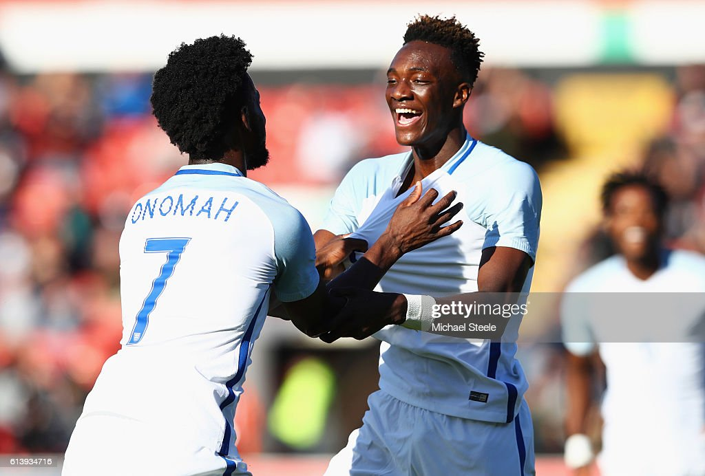 Tammy Abraham of England U21 (R) celebrates with team mate Josh Onomah as he scores their second goal during the UEFA European U21 Championship Group 9 qualifying match between England and Bosnia and Herzegovina at Banks' Stadium on October 11, 2016 in Walsall, England.