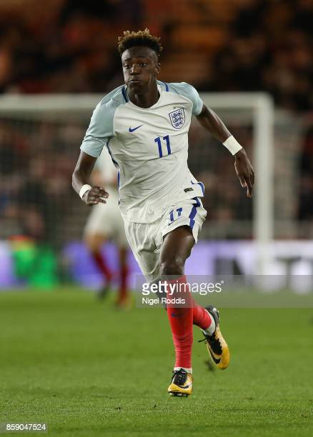 Tammy Abraham of England U21 during the UEFA European Under 21 Championship Group 4 Qualifier between England and Scotland at Riverside Stadium on...